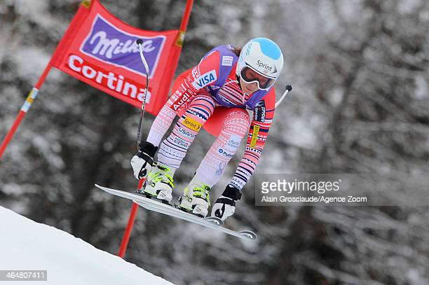 Julia Mancuso of the USA competes during the Audi FIS Alpine Ski World Cup Women's Downhill on January 24 2014 in Cortina d'Ampezzo Italy