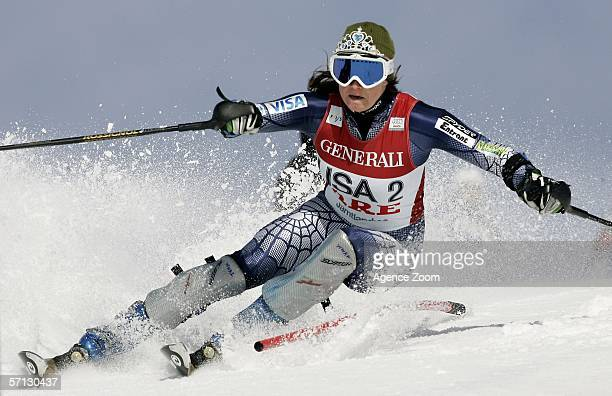 Julia Mancuso of the USA in action during the FIS Sking World Cup Finals Nations Team Event on March 19 2006 in Aare Sweden