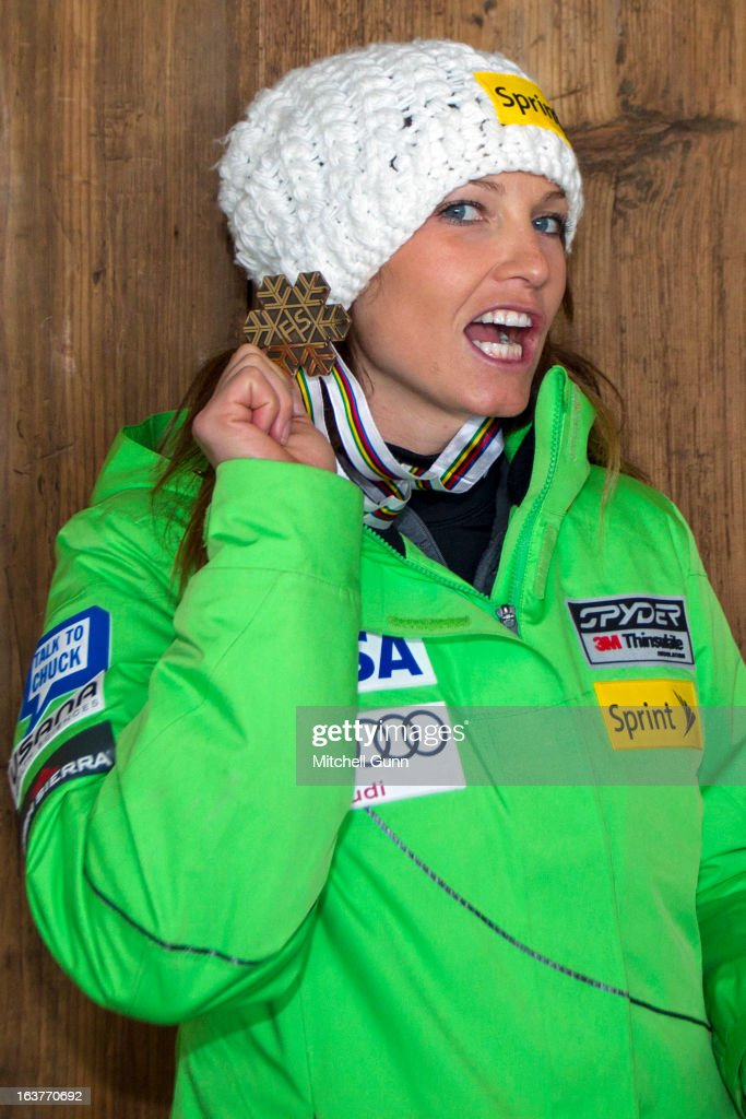 Julia Mancuso of the USA poses with her World Championship Medal on March 15, 2013 in Lenzerheide, Switzerland,