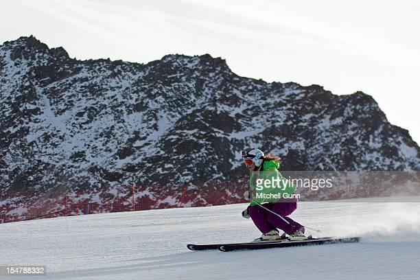 Julia Mancuso of the USA skis during practice run on the Retenbach Glacier prior to the Audi FIS Alpine Ski World Cup Women's Giant Slalom on October...
