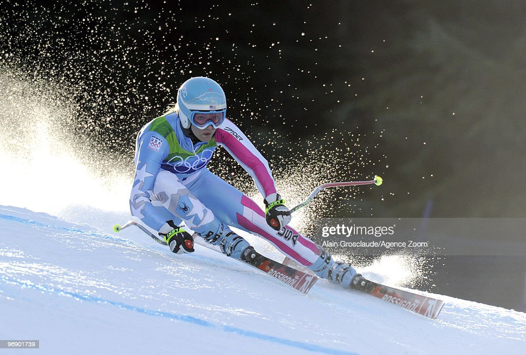 Julia Mancuso of the USA skis during the Women's Alpine Skiing Super-G on Day 9 of the 2010 Vancouver Winter Olympic Games on February 20, 2010 in Whistler Creekside, Canada.