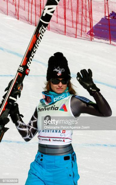 Julia Mancuso of the USA takes 3rd place during the Audi FIS Alpine Ski World Cup Women's Super G on March 7, 2010 in Crans Montana, Switzerland.
