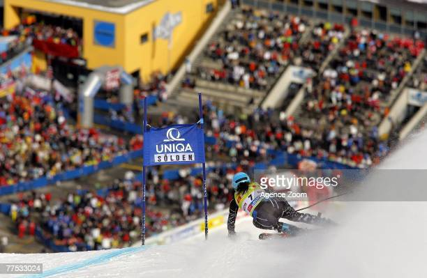 Julia Mancuso of the USA takes second place during the Alpine FIS Ski World Cup Women's Giant Slalom on October 27 2007 in Soelden Austria