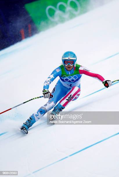 Julia Mancuso of the USA takes the Silver Medal during the Alpine Skiing Ladies Super Combined Downhill on day 7 of the Vancouver 2010 Winter...