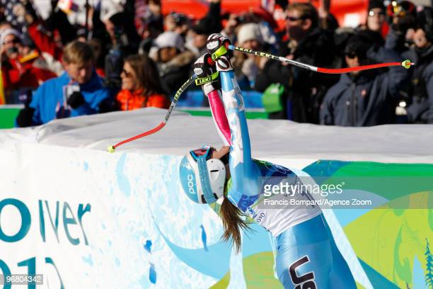 Julia Mancuso of the USA takes the Silver Medal during the Women's Alpine Skiing Downhill on Day 6 of the 2010 Vancouver Winter Olympic Games on...