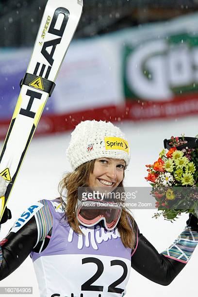 Julia Mancuso of the USA wins the bronze medal during the Audi FIS Alpine Ski World Championships Women's SuperG on February 05 2013 in Schladming...
