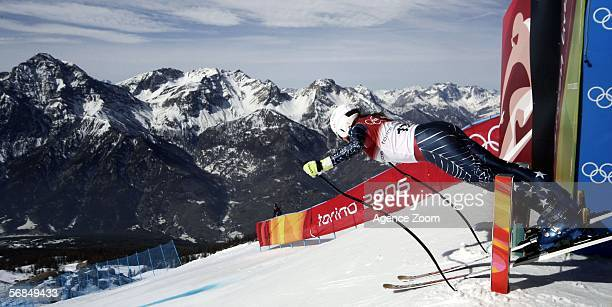 Julia Mancuso of United States competes in the Womens Alpine Skiing Downhill Training on Day 4 of the 2006 Turin Winter Olympic Games on February 14...