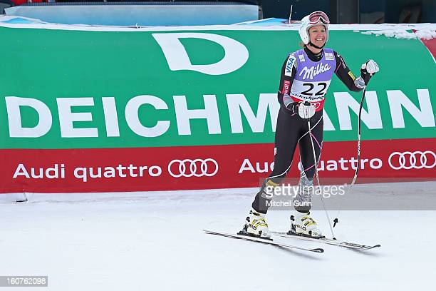 Julia Mancuso of USA reacts in the finish area after competing in the Alpine FIS Ski World Championships super giant slalom race on February 05 2013...
