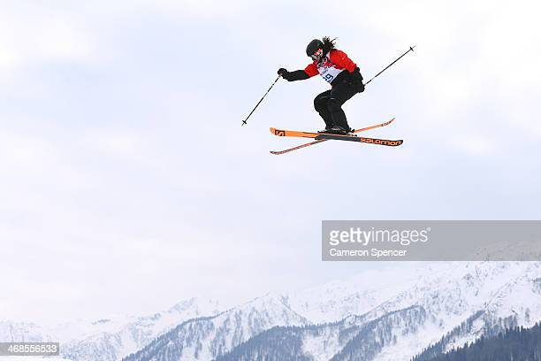 Julia Marino of Paraguay competes in the Freestyle Skiing Women's Ski Slopestyle Qualification on day four of the Sochi 2014 Winter Olympics at Rosa...