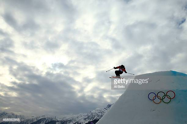 Julia Marino of Paraguay in action during the Freestyle Skiing Ladies' Ski Slopestyle semi finals at Rosa Khutor Extreme Park on day four of the...