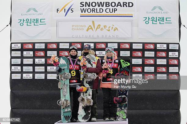 Julia Marino of USA takes 2nd place Anna Gasser of Austria takes 1st place Katie Ormerod of Great Britain takes 3rd place during Ladies BA Finals the...