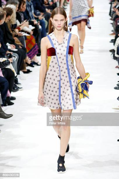Julia Merkelbach walks the runway during the Valentino show as part of the Paris Fashion Week Womenswear Spring/Summer 2018 on October 1 2017 in...