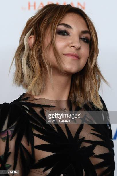 Julia Michaels an American singer and songwriter arrives for the traditionnal Clive Davis party on the eve of the 60th Annual Grammy Awards on...