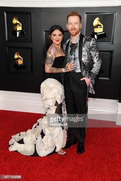 Julia Michaels and JP Saxe attend the 63rd Annual GRAMMY Awards at Los Angeles Convention Center on March 14, 2021 in Los Angeles, California.