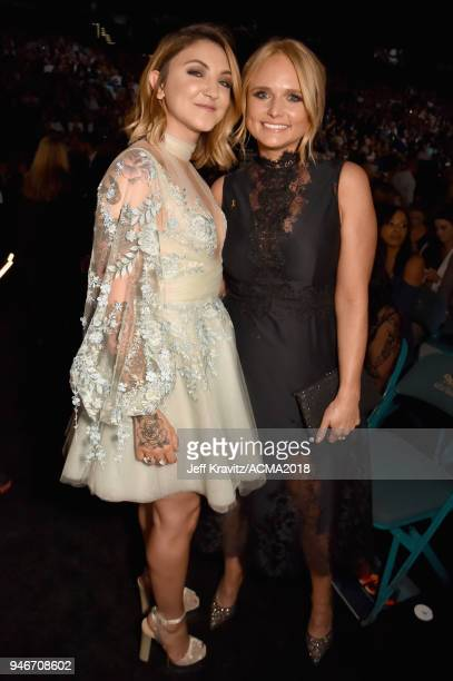 Julia Michaels and Miranda Lambert attend the 53rd Academy of Country Music Awards at MGM Grand Garden Arena on April 15 2018 in Las Vegas Nevada