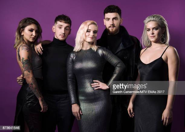 Julia Michaels Luke Patterson Grace Chatto and Jack Patterson of Clean Bandit and AnneMarie pose in the Studio during the MTV EMAs 2017 held at The...