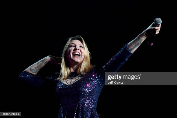 Julia Michaels performs in concert opening for Maroon 5 at Madison Square Garden on October 15 2018 in New York City