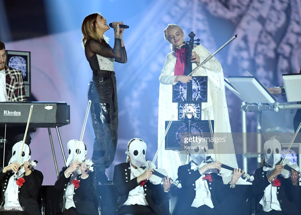 Julia Michaels (L) performs on stage with Grace Chatto (R) of Clean Bandit during the MTV EMAs 2017 held at The SSE Arena, Wembley on November 12, 2017 in London, England.
