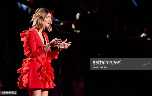 Julia Michaels performs onstage during the 2017 MTV Video Music Awards at The Forum on August 27 2017 in Inglewood California