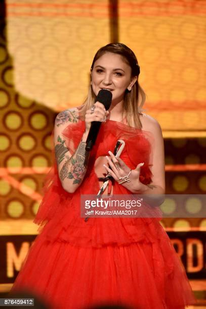 Julia Michaels speaks onstage during the 2017 American Music Awards at Microsoft Theater on November 19 2017 in Los Angeles California