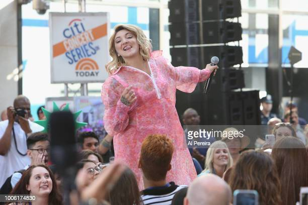 Julia Michaels sticks her tongue out when she performs on NBC's 'Today Show' at Rockefeller Plaza on July 27 2018 in New York City