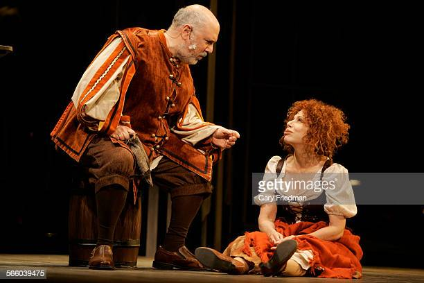 ANGELES CA – Julia Migenes as Aldonza/Dulcinea and Lee Wilkof as Sancho Panza during a dress rehearsal of 'Man of La Mancha' The play performed by...