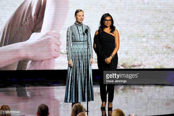 Julia Milner and Taraji P Henson speak onstage during the 2020 Breakthrough Prize at NASA Ames Research Center on November 03 2019 in Mountain View...