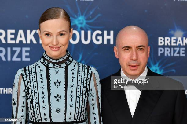 Julia Milner and Yuri Milner attend the 2020 Breakthrough Prize Red Carpet at NASA Ames Research Center on November 03 2019 in Mountain View...