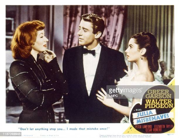 Julia Misbehaves US lobbycard from left Greer Garson Peter Lawford Elizabeth Taylor 1948