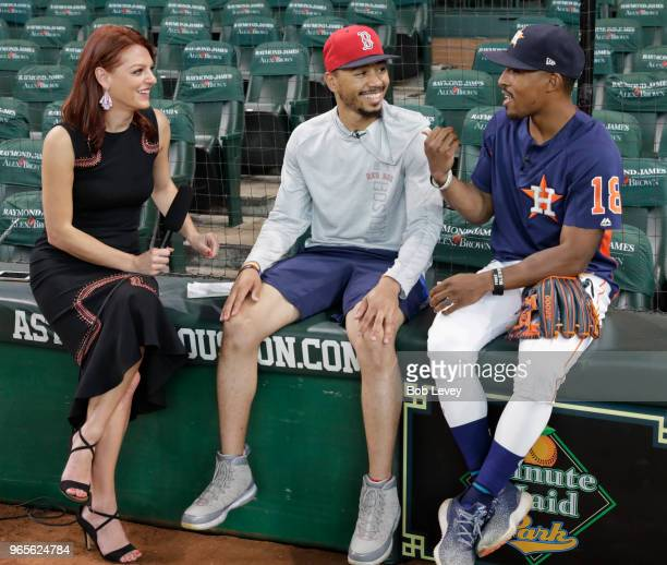 Julia Morales sports anchor and reporter for ATT SportsNet Southwest talks with Mookie Betts of the Boston Red Sox and Tony Kemp of the Houston...