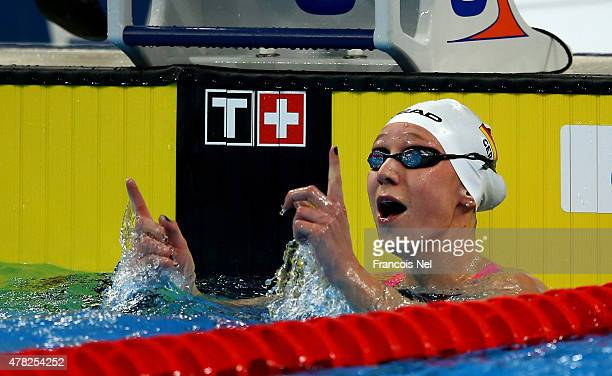 Julia Mrozinski of Germany celebrates winning gold in the Women's 200m Butterfly final on day twelve of the Baku 2015 European Games at the Baku...