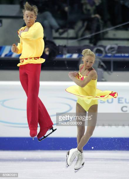 Julia Obertas and Sergei Slavnov of Russia perform in the Short Program competition at the European Figure Skating Championships in Turin 25 January...