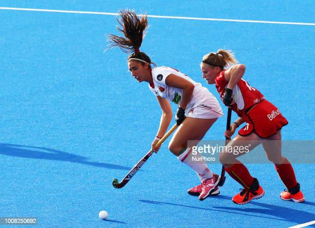 Julia of Spain and GERNIERS Alix of Belgium during FIH Hockey Women's World Cup 2018 Day Nine match CrossOver game 26 between Belgium and Spain at...