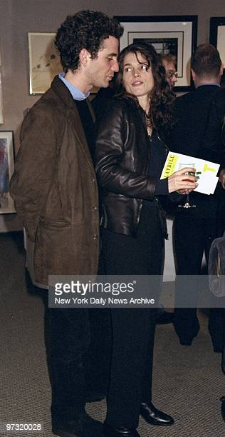 Julia Ormond and date Jon Rubin at opening night party at Sotheby's for the play Art