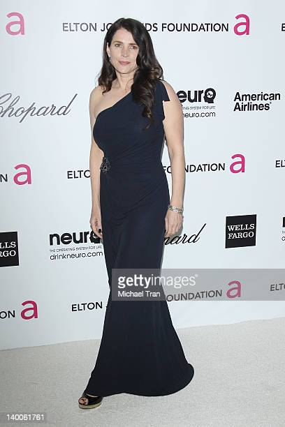 Julia Ormond arrives at the 20th Annual Elton John AIDS Foundation Academy Awards viewing party held across the street from the Pacific Design Center...