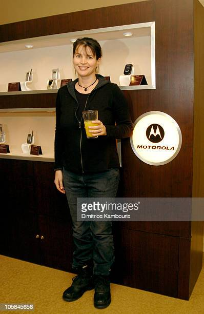 Julia Ormond in front of Motorola display during 2004 Park City Motorola Lodge at Motorolla House in Park City Utah United States
