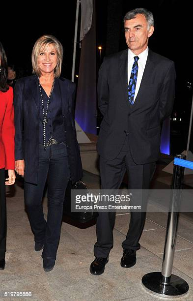 Julia Otero and Josep Martinez attend the Catalonian of The Year Award to Oscar Camps at Teatro Nacional de Cataluna on April 7 2016 in Barcelona...