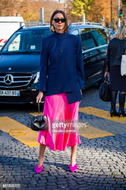 Julia Pelipas is seen before the Chanel show during Paris Fashion Week Womenswear SS18 on October 3 2017 in Paris France