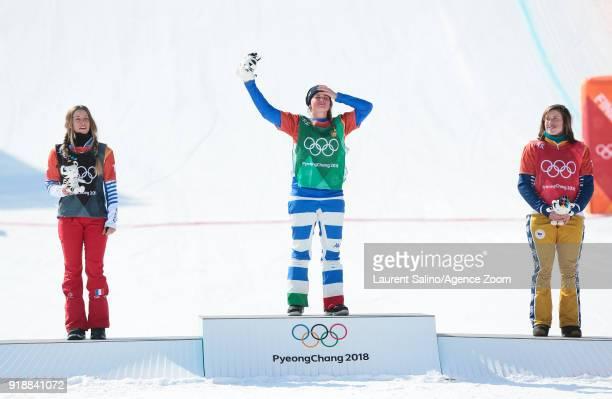 Julia Pereira De Sousa Mabileau of France wins the silver medal Michela Moioli of Italy wins the gold medal Eva Samkova of Czech Republic wins the...