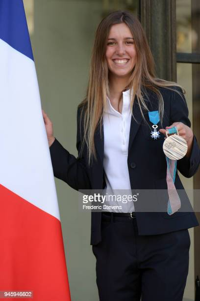 Julia Pereira de Sousa snowboarder silver medalist at the Pyeongchang Winter Olympics poses at the Elysee Palace after a cocktail reception hosted by...