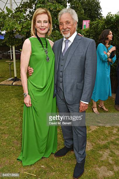 Julia Peyton Jones and Sir Tom Jones attend The Serpentine Summer Party cohosted by Tommy Hilfiger on July 6 2016 in London England