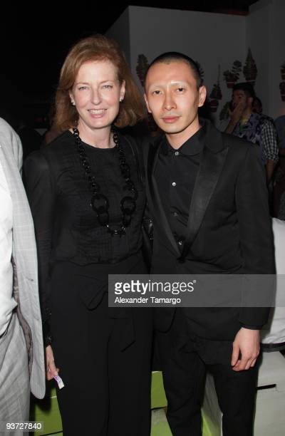 Julia PeytonJones and Terrence Koh attend the AnOther Magazine's Art Editions launch during Miami Art Basel at the Delano Hotel on December 2 2009 in...