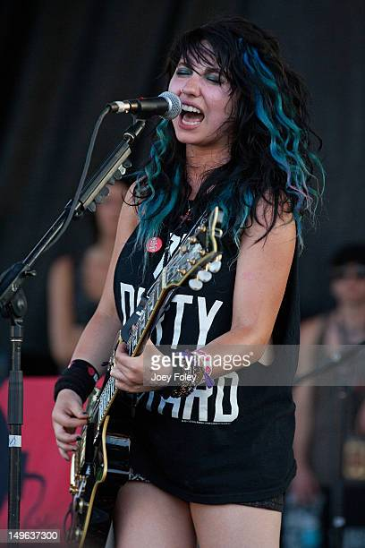 Julia Pierce of Cherri Bomb performs live onstage during the 2012 Vans Warped Tour at the Riverbend Music Center on July 31 2012 in Cincinnati Ohio