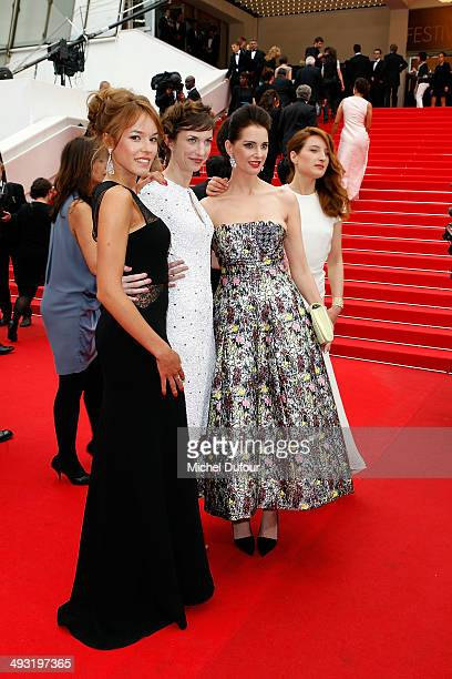 Julia Platon Elodie Fontan Frederique Bel and Emilie Caen attend the Premiere of 'Jimmy's Hall' at the 67th Annual Cannes Film Festival on May 22...