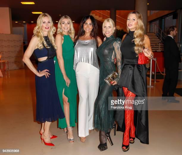 Julia Pohl Annika Gassner Rafaella White Dana Huschert and Sabine Piller attend the Victress Awards gala on April 9 2018 in Berlin Germany