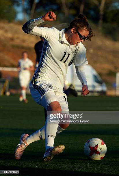 Julia Pollak of Germany in action during the international friendly match between U17 Girl's Germany and U17 Girl's England at Complex Esportiu...