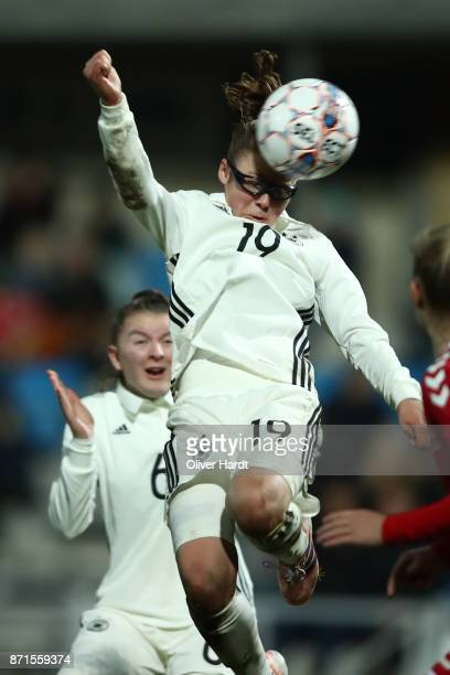 Julia Pollak of Germany in action during the U16 Girls international friendly match betwwen Denmark and Germany at the Skive Stadion on November 6...