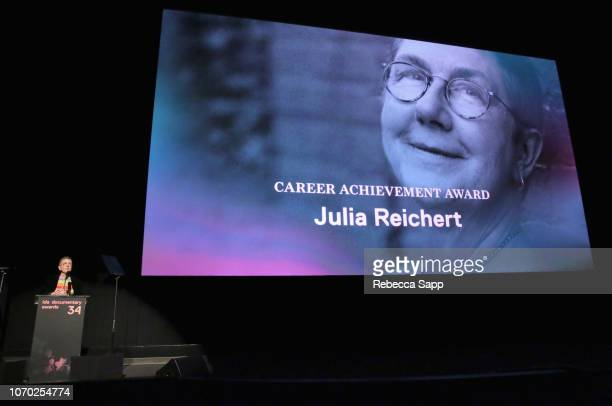 Julia Reichert accepts the Career Achievement Award onstage during the 2018 IDA Documentary Awards on December 8 2018 in Los Angeles California