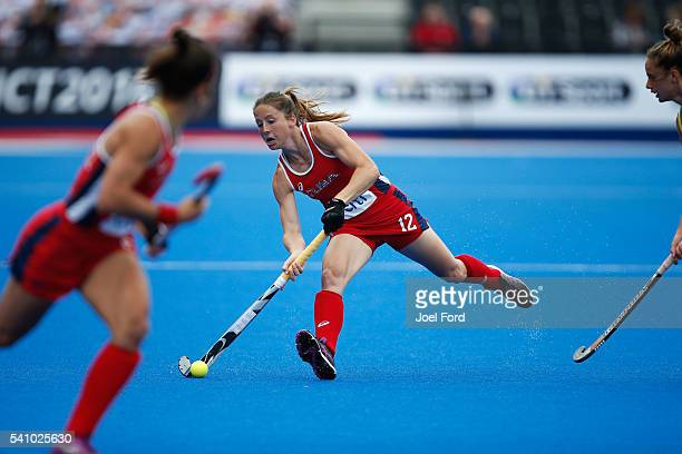 Julia Reinprecht of the USA plays a pass during the FIH Women's Hockey Champions Trophy 2016 match between United States and Australia at Queen...