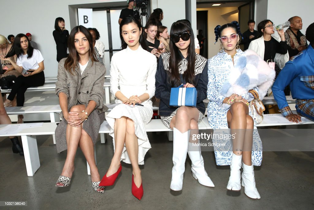 Julia Restoin Roitfeld, Estelle Chen, Leaf Greener and Sita Abellan attend the Calvin Luo front Row during New York Fashion Week: The Shows at Gallery I at Spring Studios on September 12, 2018 in New York City.